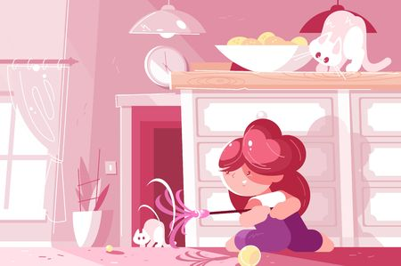 Little young girl playing with cat and having fun. Cute child in cozy apartment vector illustration. Pink room with modern interior. Childhood and pet concept