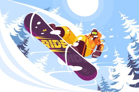 Jumping snowboarder in trendy suit flat style vector illustration. Well-dressed man in bright orange sportswear. Winter and sport concept. Snowy trees on background Illustration