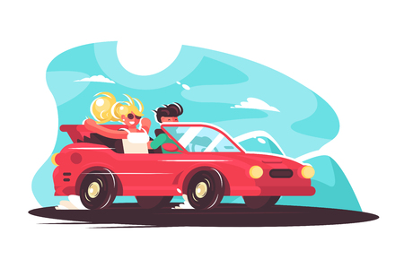 Girl with boy having fun time together vector illustration. Young man and woman travelling by car at summer holidays. Countryside travel ride and vacation car road trip