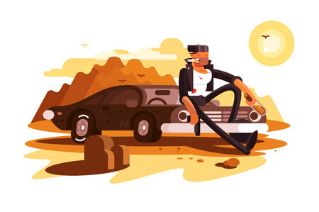 Cool tough guy sitting on car and smoking Illustration