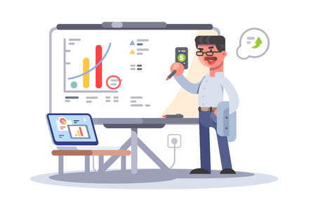 Professional business man analyzing growth showing on dashboard. Marketing research concept flat design vector illustration. Isolated on white background Иллюстрация