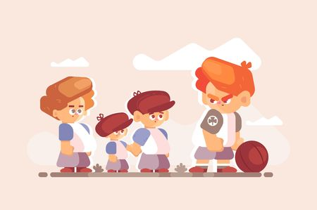 Boy fighter with good kids outside. Little disgruntled child standing clenched fists with ball vector illustration. Different children characters flat style concept Ilustração