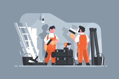 Home repair interior or remodeling vector illustration. Repairman doing renovation at home flat style concept. Work process at room. Special tools and equipment Illusztráció
