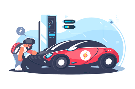 Red electric car charging at the charger station flat vector illustration. Young man standing near cool transport. Technology concept. Isolated on white background Illustration