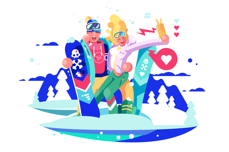 Smiling boy and girl taking selfie on smartphone with snowboards. Couple of snowboarders in ski suit takes photos for social media app. Winter kinds of sport and holidays flat vector illustration