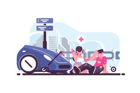 Escena de accidente de tráfico con colisión de coche y scooter. Conductor de mujer llamando a la ilustración de vector de estilo plano de ambulancia. Niño herido sentado en la carretera y niña dándole primeros auxilios