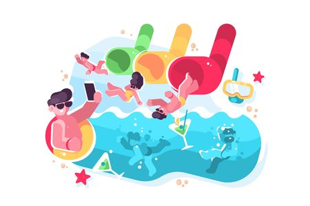 People having fun on water slides tubes at aquapark. Men and women riding down drinking cocktails and making selfie at waterpark flat vector illustration. Summer time attractions concept Illustration