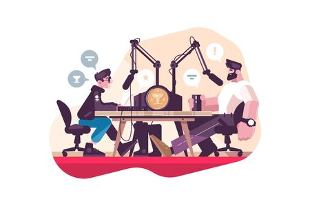 Radio presenter interviewing man at studio flat vector illustration. Professional radio station with microphone and other equipment. Mass media and broadcasting concept