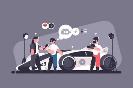 Mass media interview with experts and modern auto review. Man talking about new sport car with journalists vector illustration. Test-drive channel automobile video advertising flat style concept Stock fotó - 125278783