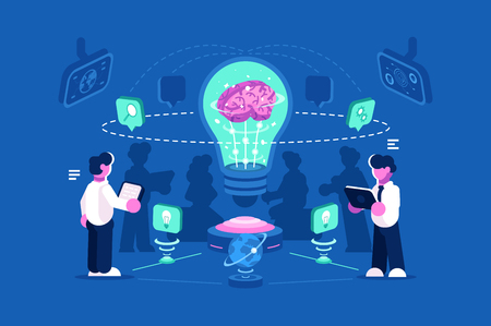 Business people team thinking a nd brainstorming. Team work process training of office staff. Increase sales and skills vector illustration. Business management teamwork flat style. Isolated on blue