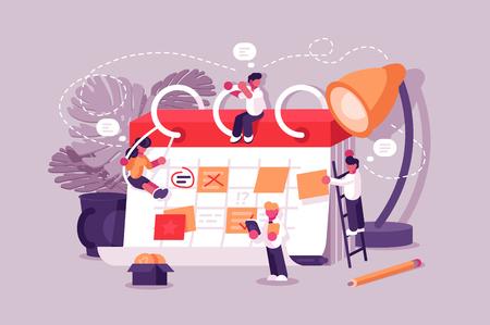 Kalenderplantafel mit Kollaborationsplan und Aufklebern. Geschäftsteam, das Planungsarbeit plant. Die Leute machen gemeinsam einen Zeitplan. Tägliche Routine-Vektor-Illustration. Teamwork-Konzept