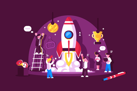 Red rocket start up space with people celebrating and cheering up vector illustration. Rocket launch. Win and job happiness concept. Isolated on pink background  イラスト・ベクター素材