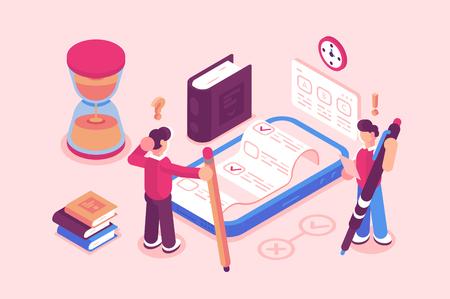 Servicio de exámenes o pruebas en línea Ilustración de vector