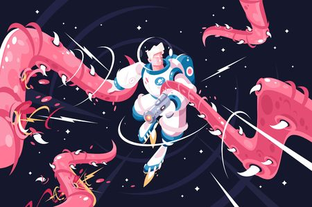 Young astronaut vs dangerous alien tentacles