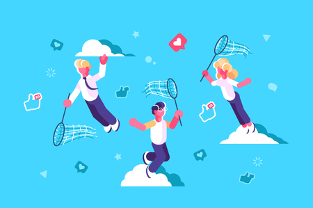 Global social media network design vector illustration. People with butterfly net chasing flying away likes and thumb up icons flat concept. Blue sky and white clouds on background Illustration