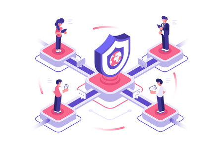 Internet and global network security vector illustration. People using modern gadgets. Secure data deposits online payments guarantee integrity of personal information concept