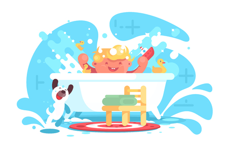 Little cheerful baby having fun in bath vector illustration. Happy smiling kid playing with toys and dog at bathroom flat style design. Concept of childhood