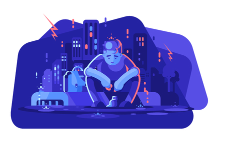 Young boy in depression vector illustration. Sad man sitting alone outside in the rain flat style concept. Depressed guy feeding little kitten. Night cityscape on background Vector Illustratie
