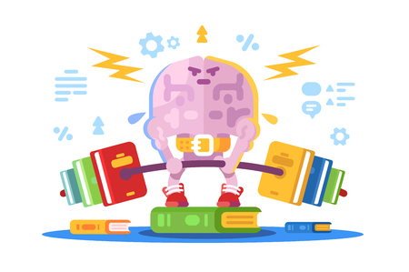 Strong brain lifting weight vector illustration. Training and exercise of intelligent flat comic style concept. Brains intelligence cleverness and brightness Ilustração