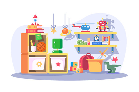 Children room modern interior with toys vector illustration. Empty nursery playroom with furniture and accessories flat style design. Childhood concept