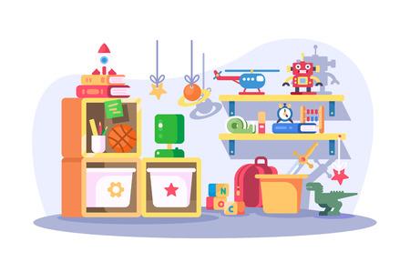 Intérieur moderne de la chambre des enfants avec illustration vectorielle de jouets. Salle de jeux de pépinière vide avec mobilier et accessoires design de style plat. Notion d'enfance Vecteurs