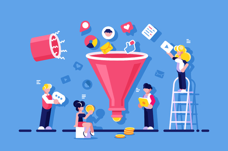 Market optimization with funneling vector illustration. People changing likes video messages to money flat style concept. Mobile social media commerce concept. Isolated on blue background