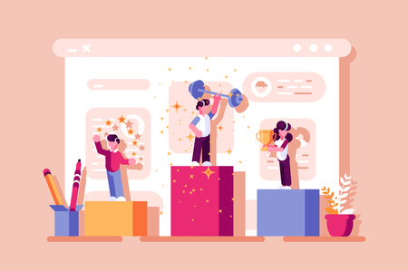 Winners ranking podium vector illustration. Prizes for champions flat style design. Champions get rewards for best results. Success business concept. Isolated on pink background