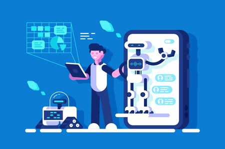 Developer making presentation of chat bot vector illustration. Online talking with Robot. Virtual mobile application assistance flat style concept. Technology of future