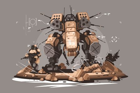 Drone escort infantry vector illustration. Military army soldier robot mercenary mechanized and automated flat style concept. Latest robotic technologies futuristic services and future technologies Illustration