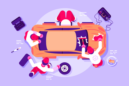 Workers in car service checking vehicle. Men repairing and polishing crashed automobile vector illustration. Team of mechanics working at workshop. Auto parts toolbox battery charging flat concept Banque d'images - 124548478