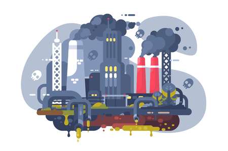Industrial smoke clouds on city landscape vector illustration. Toxic waste from plants flat style concept. Chimney of refinery with steam on background. Environmental pollution