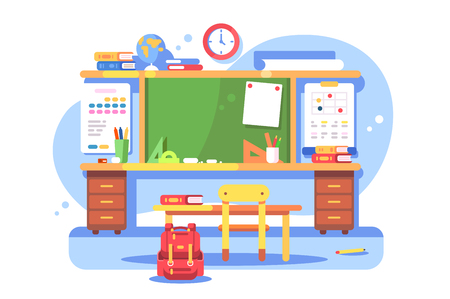 Schools classroom modern interior vector illustration. Empty class with blackboard teacher table desk and bookshelf and equipment flat style design. Education concept