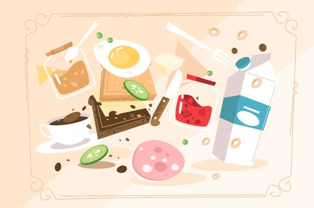 Products for cooking breakfast vector illustration. Milk fried egg sausage jam cucumber peanut butter coffee in rectangular flame flat style concept. Meals for brunch