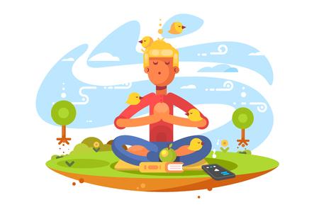 Young man meditating on nature
