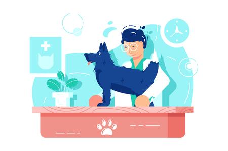 Perro gracioso en clínica veterinaria Ilustración de vector