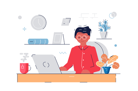 Woman working at computer Stock Illustratie