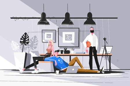 Designers working in studio vector illustration. Men and woman doing new projects in office. Creative people creating websites. Bureau interior. Teamwork concept. 스톡 콘텐츠 - 119676762