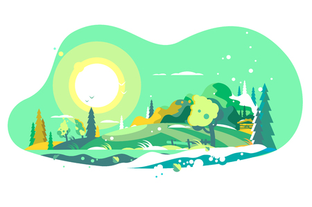 Spring landscape with snow vector illustration. Natural background with bright sun in green color flat style vector illustration. Colourful springtime