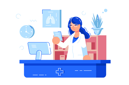 Woman pharmacist reading recipe vector illustration. Girl druggist in glasses and white uniform standing at workplace flat style concept. Pharmacy interior isolated Çizim