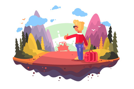 Young man trying catches car vector illustration. Boy standing on road with thumb up and hitchhiking auto flat style design. Adventure travelling concept