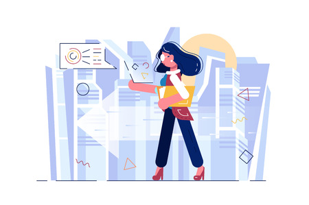 Aspiration of high business race vector illustration. Businesswoman going confidently to success flat style concept. Biz competition metaphor. City landscape on background
