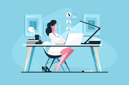 Modern doctor at workplace vector illustration. Young woman in white doctor uniform sitting at desk and giving consultation via internet flat style design. Health care and online medicine concept Illustration