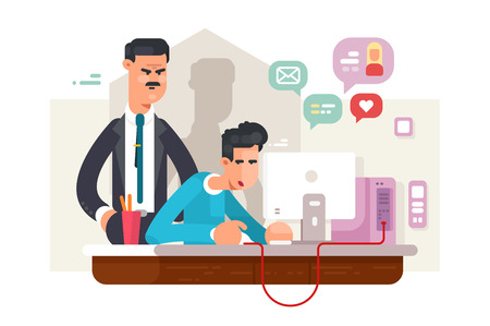 Boss looks employee vector illustration. Man sitting at workplace and using social media via internet during working time. Angry director standing behind him flat style concept