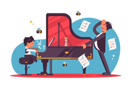 Stressed piano tutor teaching boy vector illustration. Little child having pianino lesson with upset coach flat style concept. Professional pianist giving music class Stock Illustratie