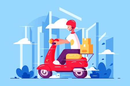 Man courier driving on scooter vector illustration. Motorcycle express service flat style concept. Delivery quickly everything small parcel. Cityscape on background