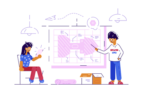Couple of engineer workers vector illustration. Man and woman working at drawing planning new project flat style concept. Modern architecture bureau construction company