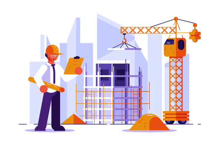Architect and construction engineer vector illustration. Man in hard hat checking structural drawing flat style concept. Buildings and cranes on the background. Real estate development