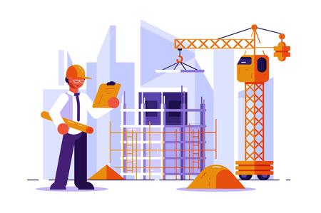 Architetto e ingegnere edile illustrazione vettoriale. Uomo in elmetto che controlla il concetto di stile piano del disegno strutturale. Edifici e gru sullo sfondo. Sviluppo immobiliare