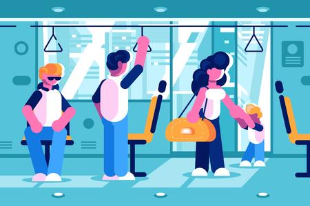 Passengers inside the bus Illustration