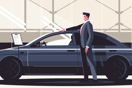 New car sale center vector illustration. Man standing near modern fashionable vehicle. Boy estimating price and quality of auto. Seller at the automobile showroom shows new machine flat style concept  イラスト・ベクター素材